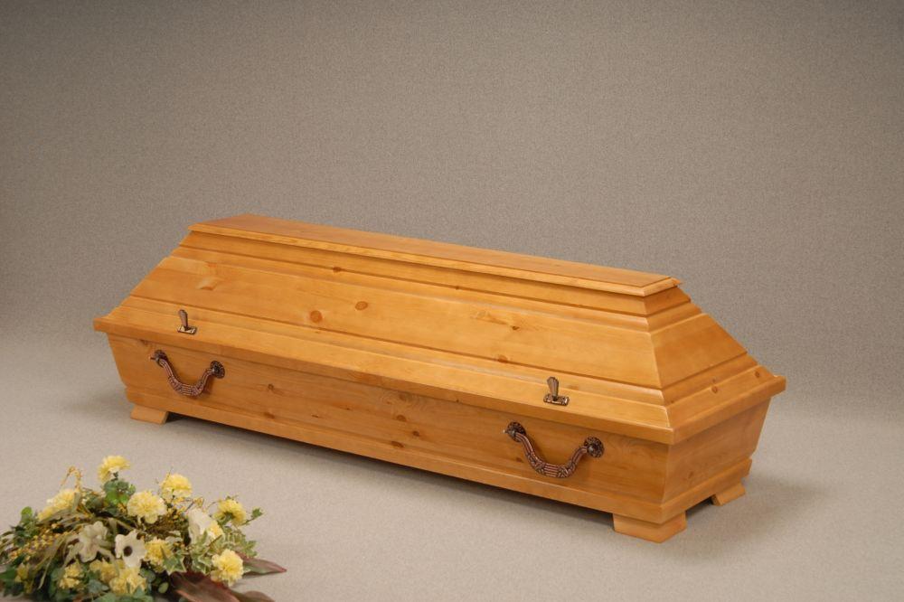 Handelssarg, Kiefer, Kremationssarg, gebeizt, lackiert